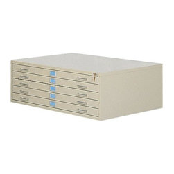 Alvin and Company - Extra-Large Stackable Five-Drawer Steel Flat Document File - Safco (White) - Color: White. Constructed of heavy gauge steel in your choice of finish options, this oversized flat document file will be a functional, versatile addition to any office. Ideal for blueprints, city plans or art work, the file is stackable and includes an optional base and lock kit. Electrically-welded heavy gauge steel construction. Double-thick wraparound corners. Integral cap. Sturdy inner frames. Stores up to 500 sheets per unit active filing, 750 sheets semi-active and 1000 sheets inactive. Stacks securely up to 5 units high with anti-slip pads between units to eliminate shifting. Steel side roller assembly with case-hardened ball bearing rollers for smooth drawer operation. Pictured in Sand color. Museum/archival-quality paint finish. Rear bumper pads. Drawer safety stops. Heavy-duty drawer rails for precision alignment. Rear drawer hoods. Hinged front depressors. Inside: 38 in. D x 50 in. W. Overall: 41.37 in. D x 53.37 in. W x 16.5 in. H