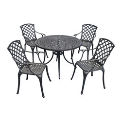 "Crosley - Sedona 42"" Five Piece Cast Aluminum Outdoor Dining Set - Sedona 42"" Five Piece Cast Aluminum Outdoor Dining Set with High Back Arm Chairs in Black Finish Relax outside for hours on our nostalgically inspired Griffith metal outdoor furniture. Kick back while you reminisce in this seating set, designed to withstand the hottest of summer days and other harsh conditions. The furniture's non-toxic, powder-coated finish is available in various colors to complement your outdoor accessories. Features: Sturdy Steel Construction, Non-Toxic Powder Coated Finish, Available In Several Colors, Easy To Assemble, UV Resistant"