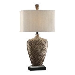 "Crestview - Crestview CVAUP878 Coventry Table Lamp 34""Ht - Coventry Table Lamp 34""Ht Coventry Table Lamp 34""Ht., Resin & Crystal Antique Brass Finish 11/17 x 11/17 x 11 Natural Textured Linen Shade  34"""
