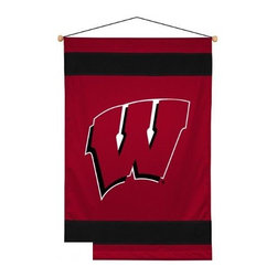 Sports Coverage - University of Wisconsin Badgers Sideline Wall Hanging - University of Wisconsin Badgers Sideline Wall hanging, a great gift for the ultimate fan or a great way to deck out the bedroom with your favorite team. This Wall hanging is screen-printed with bold logo and team colors will carry your team spirit into any room. Each NCAA Wall Hanging banner comes with wooden dowel at top and attached hanging cord. 100% Polyester Jersey is lined in poly/cotton and includes wooden dowels and string for hanging. Machine washable. 4 1/2 birds eye stripe on top and on bottom. Material Content: 100% Polyester Jersey on front, 65% polyester/35% cotton on back.