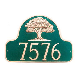 Oak Tree Address Plaque - This lovely arched plaque features a stunning oak tree emblem above your customized address or family name.