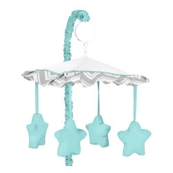 Sweet Jojo Designs - Gray Turquoise ZigZag Chevron Musical Mobile - Gray and Turquoise Zig Zag Musical Crib Mobile will help complete the look of your Sweet Jojo Designs nursery. The wind-up mobile spins and plays Brahms' lullaby. Musical Mobile Set Includes: Plastic mobile frame with music box, Plastic clamp (fits standard rails), Fabric canopy with hanging toys and Arm sleeve cover.