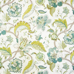 Indienne fabric Jacobean floral gold blue aqua, Sample - An Indienne fabric. A floral Jacobean fabric. A Tree of Life fabric done in golds, blues, and aqua.