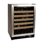 Haier - Haier 50 Bottle Wine Cellar Stainless Steel - Control the temperature of both red and white wines through a state-of-the-art elecontronic LED display. With 6 slide-out storage racks, you'll be able to organize and find that perfect bottle every time.  LED Display for Temperature Read-Out|Electronic Temperature Control|Automatic Settings for Red and White Wine|6 Slide-Out Chrome Storage Racks|Full-View Blue Gray Tint Double Pane Glass Door with Brushed Aluminum Door Trim  This item cannot ship to APO/FPO addresses.  Please accept our apologies.