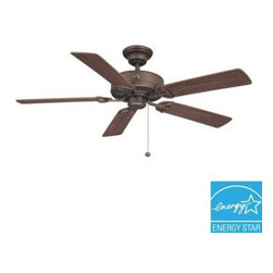 Hampton Bay - Indoor Ceiling Fans and Light: Hampton Bay Farmington 52 in. Oil Rubbed Bronze C - Shop for Lighting & Fans at The Home Depot. The Hampton Bay Farmington 52 in. Ceiling Fan features an oil-rubbed bronze finish with 5 reversible walnut/dark teak blades and a quick-install blade system for fast installation. The 3-speed reversible control enables you to select the optimal fan speed and direction, and the multi-capacitor offers quiet operation. The fan is Energy Star qualified for energy efficiency and year-round energy and money savings.