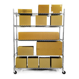 Trinity - Trinity 5-tier Heavy Duty Commercial Chrome Wire Shelving Rack - This durable wire shelving rack offers a tough,reliable option for storing and transporting a variety of items. Solid construction ensures long life and strength. Adjustable shelves allow for superior flexibility. Castor wheels make moving it simple.