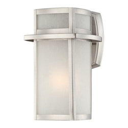 """Brushed Nickel Frosted Glass 11 1/4"""" High Outdoor Wall Light -"""