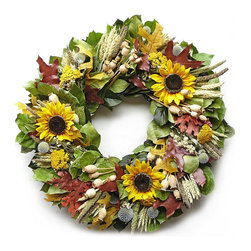 "Frontgate - Zippy-do-da Wreath - 22"" dia. - 80% silk, 20% dried. Hand assembled in USA. Ready to hang. For indoor and covered outdoor use. A marvelous mix of dried and silk elements, our Zippity-do-da Wreath highlights autumn's charm and beauty with silk sunflowers, echinops, preserved rust oak leaves, yarrow, poppy pods, beardless wheat, natural salal, and basil salal.  .  .  .  ."