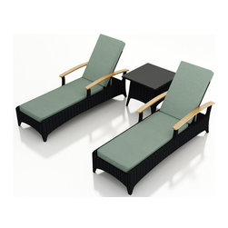 Harmonia Living - Arbor 3 Piece Outdoor Reclining Chaise Lounge Set, Canvas Spa Cushions - The Arbor Collection is perfect for creating an upscale look while providing a great value. The Arbor 3 Piece Reclining Chaise Lounge Set by Harmonia Living with Turquoise Sunbrella Cushions (SKU HL-AR-CB-3RCLS-SP) is constructed with durable, thick-gauged aluminum frames, which are protected by a powder coating for superior corrosion resistance. The wicker is made of High-Density Polyethylene (HDPE), with its coffee bean color and UV resistance infused into the strands themselves. This creates a rich wicker color that holds up incredibly well with age. Its Grade A teak arms have been kiln-dried, removing excess moisture to ensure it will not crack or warp. Thick, comfy cushions are covered in high quality fabric by Sunbrella, the industry leader in mildew - and fade-resistant outdoor fabrics. The end table is topped with a durable tempered glass top.