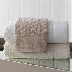 Frontgate - Uptown Bath Towel - 100% cotton. 600 gsm. Works equally well in both contemporary and classic settings. Machine wash; tumble dry low. Our sculpted, deco-inspired Uptown Bath Collection features a classic basket weave with geometric lines and traditional associations. Crafted of , the genteel and dimensional lattice of these towels is bordered by a wide frame of solid terry cloth, making this glamorous collection perfect for a majestic master bath.  .  .  .  .