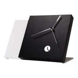 Modo Bath - Tact Mixte Black/White Table Clock - Tact Mixte Black/White Wood Table Clock with Hands in Chrome