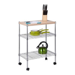 Chrome Utility Cart With Wood Top - Dimensions:  13.78 in L x 23.62 in W x 29.53 in H /35 cm L x 60 cm W x 75 cm H