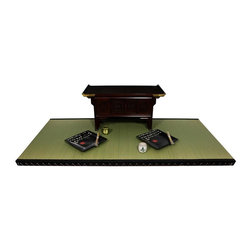 Oriental Unlimted - Baked Dried Rice Straw Filled Tatami Mat - Includes a moisture resistant barrier in the foundation of the mat. Tatami mats are constructed of Japanese Rush Grass with a double layer top for extra protection. The inside is a baked dried rice straw fill for strength and durability. Each mat is sewn with a black fabric border and bound with twine. Full size: 70.88 in. L x 35.38 in. W x 2 in. HStraight from the Far East, where they have been making Tatami for hundreds of years. Tatami mats started as floor coverings and were also used to make chairs or benches by placing several Tatami on top of each other. When they were first made, Tatami mats were seen as luxury items for the wealthy when most people had dirt floors. Another function of Tatami was to indicate rank. The most exalted members of a ceremony or gathering were given the privilege of sitting on the Tatami, while others sat on the wooden floor. Tatami mats are much more widely used today, but are still employed for Japanese religious rites and tea ceremonies. Our Tatami mats can be used in a variety of ways. Floor coverings are the most popular option, but benches, stools, tables and desks can also be constructed using multiple Tatami.