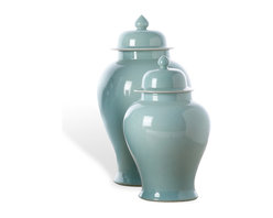 Kathy Kuo Home - Set of 2 Turquoise Asian Inspired Porcelain Temple Jars - An updated take on tradition, these display-worthy temple jars work wonderfully in modern interiors. You can place the porcelain pair on a shelf or mantel, or use them every day as elegant storage in the kitchen, office or living room.