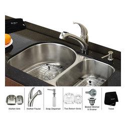Kraus - Kraus 30 inch Undermount Double Bowl Stainless Steel Kitchen Sink with Kitchen F - *Add an elegant touch to your kitchen with unique Kraus kitchen combo