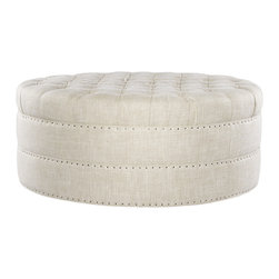 Grand Linen Upholstered Round Tufted Ottoman -