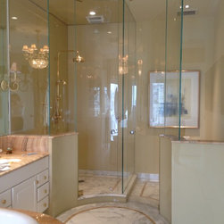 Paige Glass Shower Doors - We can tailor our glass to fit any bathroom situation with enclosures for showers, tubs, toilets.  Our back painted glass is a carefree alternative to tile.  Bent glass will make a custom fit to maximize your bathroom space.