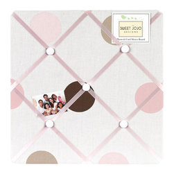 Sweet Jojo Designs - Pink & Chocolate Mod Dots Fabric Memo Board - The Pink & Chocolate Mod Dots Fabric Memo Board with button detail is a great way to display photos, notes, and postcards on your child's wall. Just slip your mementos behind the grosgrain ribbon to create an engaging piece of original wall art. This adorable memo board by Sweet Jojo Designs is the perfect accessory for the matching children's bedding set.The Pink & Chocolate Mod Dots Fabric Memo Board is 14in. x 14in. and comes with metal hangers on the back for easy hanging on the wall.
