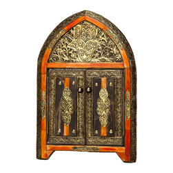 """17"""" Moroccan Arched Henna Mirror with Doors - An eye-catching decor accent, this hand-crafted Moroccan mirror features hand-tooled metal and carved henna-dyed bone on wood foundation. Doors open and close. Measures approximately 16.75 inches high x 11.4 inches wide. Artisan-crafted in Morocco and responsibly sourced by Moroccan Buzz. Photo by George Filgate."""