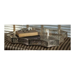 "Dessau Home - 23 in. Scalloped Gallery Tray - Made from brass. Antique silver color. Made in India. 23 in. L x 19.5 in. W x 2.5 in. HValue has always been an essential ingredient at Dessau Home. ""Essentials"" represents a collection of well-appointed yet affordable home furnishings with a unique traditional styling that appeals to most transitional and contemporary home decorating needs."