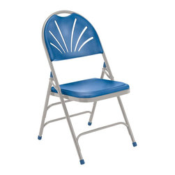 National Public Seating - Polyfold Fan Back Durable Folding Chair - Set - Set of 4. 18-gauge steel tubing frame. Double hinges for added stability and durability. Three U-shaped double riveted cross braces. V-shaped stability plugs. Stacks up to 26 chairs high. Steel contains 30-40% of post-consumer waste (recycled). Plastic contains up to 35% of pre-consumer waste. Meets ANSI and BIFMA standards. Warranty: Five years for material. Weight capacity: 480 lbs.. 18.5 in. W x 20.75 in. D x 34.5 in. H