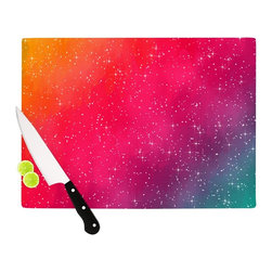 """Kess InHouse - Fotios Pavlopoulos """"Colorful Constellation"""" Pink Glam Cutting Board (11"""" x 7.5"""") - These sturdy tempered glass cutting boards will make everything you chop look like a Dutch painting. Perfect the art of cooking with your KESS InHouse unique art cutting board. Go for patterns or painted, either way this non-skid, dishwasher safe cutting board is perfect for preparing any artistic dinner or serving. Cut, chop, serve or frame, all of these unique cutting boards are gorgeous."""