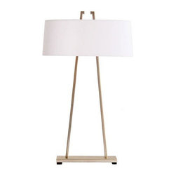 Arteriors Home - Arteriors Home Dalton Satin Silver Table Lamp - Arteriors Home 49915-907 - Arteriors Home 49915-907 - The tapered design of square tubing appears to run completely through the shade creating an interesting detail at the top. The oval linen shade circles the double socket which can be turned on with line switch. The finish is called satin nickel.