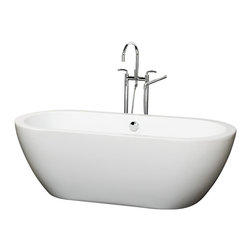Wyndham Collection - Soho 68 inch Deep Soaking Bathtub in White (Freestanding) with Chrome Drain - The Soho Soaking Tub is understatement and elegance in purest form. Organic shapes, simple lines and attractive symmetry showcase the modern design ethic, yet somehow impart a feeling of warmth and luxury. Built to last and always warm to the touch, these beautiful Bathtubs are a perfect place to melt away tension and stress, leaving you refreshed, recharged and renewed.