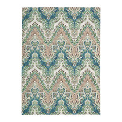 """Waverly - Waverly Wav16 Treasures WTR02 2'6"""" x 4' Prussian Area Rug 23517 - An alluring Ikat design, presented in magical shades of dove grey, sky blue, pearl white and becoming black, beautifully bridges the gap between the contemporary and the traditional. With its fascinating flame-stitch layout, this Palace Safari area rug by Waverly for Nourison is incontestably enthralling."""
