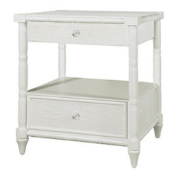 Fairfax 2-Drawer Side Table, White - I love this white side table with painted rattan. It'd be great in either a bedroom or a living room.