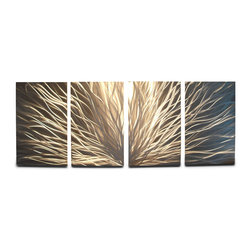 """Miles Shay - """"Radiance Silver"""" Tri-canvas Metal Wall Art - This piece is all silver. Any visible color is a reflection of objects in the room."""