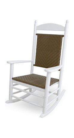 Polywood - Eco-friendly Woven Rocker in Tigerwood - This rocker is enhanced with unique detailing that gives it both warmth and sophistication. It wont splinter, crack, chip, peel or rot and it never needs to be painted, stained or waterproofed. Polywood lumber requires no painting, staining, waterproofing, or similar maintenance. It is resistant to corrosive substances, insects, fungi, salt spray and other environmental stresses.