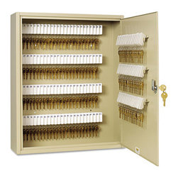 "MMF POS - Uni-Tag Key Cabinet, 200-Key, Steel, Sand, 16 1/2 X 4 7/8 X 20 1/8 - Help avoid wasted time and frustration by organizing your key sets. In these heavy-gauge, welded steel cabinets with piano-hinged doors, all keys are attached to numbered tags and filed securely on key rack slots. For convenience, whenever key is on loan, the ""Out Key"" control tag records key number, key recipient and date and is then filed under same slot for accountabilitya great, simple system. Additionally, the alphabetical and numerical lock location data charts assist in organization. For security, each cabinet has a locking door with a standard disc tumbler key lock with two keys. Key Capacity: 200; Material(s): Steel; Color(s): Sand."