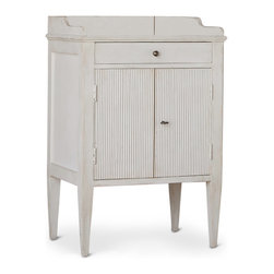Eloquence - St. Lucia Gustavian Ivory Wash Wood Nightstand - A petite French Country nightstand adds plenty of panache to your romantic bedroom. White-washed and slightly distressed, this night table contains a drawer for personal items and a cabinet below for extra storage. The fluted finish on the doors adds an architectural element to the piece.