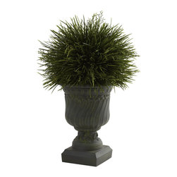 "Nearly Natural - Nearly Natural Potted Grass with Decorative Urn (Indoor/Outdoor) - Say it loud and proud - We love grass!! Left to grow, grass is fluffy, light, and oh-so-lush. And that look has been perfectly captured in this lovely ""grass in an urn"" piece that's ideal for any decor - even outdoors! The grass blades look fresh and crisp, and the decorative urn looks strong and stately. Together, they make the perfect accent piece, ideal for home or office."
