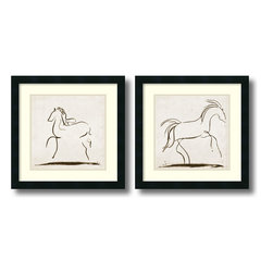 Amanti Art - Tom Reeves 'Horses- set of 2' Framed Art Print 18 x 18-inch Each - With strong, confident lines, artist Tom Reeves captures the spirit of a horse, creating a pair of great accent pieces for the equestrian enthusiast.