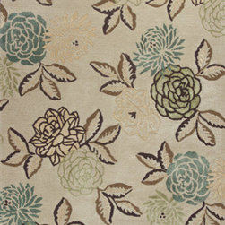 "Kas - Elegance Sand Green Florence Floral 3'6"" x 5'6"" Kas Rug  by RugLots - Our Florence collection will immediately catch your attention with the texture and warmth apparent in each design. Hand-tufted Wool and viscose are blended together to create a rich feel, while the added loop construction adds interest and dimension. Each beautiful design is both modern and relaxed in its nature, reminding ourselves to take the time to truly enjoy the environment we live in."