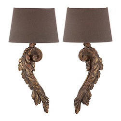 Aidan Gray - Aidan Gray Elinore Wall Sconce Set WL170 SET - Beautiful wall sconces made of wood with a gold flecked Antiqued Brown finish. This pair of hard wired wall sconces were made to look truly authentic with a hand painted finish to mimic the imperfections of a time worn piece.