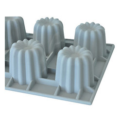 "de Buyer - de Buyer Elastomoules Silicone Canele Mold - 6 portions - The ""Bordelais"" Elastomoule Portions give the same cooking quality and savors as the famous copper molds used for crunchy Bordeaux Cannele"" cakes. Silicone foam mold, non-stick. Perfect heat transmission, thereby gaining time and allowing juices to caramelize. Carefully designed to guarantee flawless shape. Can be used for baking and freezing -70"" to +580"" F (300"" C). Fluted shape with 6 cavities. Dimensions: Each cavity has 2.75"" H x 2.75"" diameter (5.5 cm x 5.5 cm). Dishwasher safe.. Made in France."