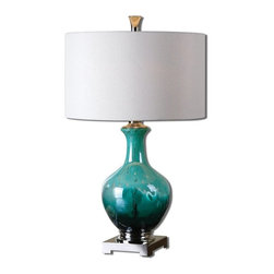 Billy Moon - Billy Moon Yvonne Green Blue Transitional Table Lamp X-1-07762 - Mottled green blue glass crackled at the bottom and accented with polished nickel plated details. The round hardback shade is an ivory linen fabric.