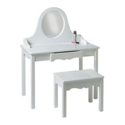 Little Colorado - Pretty Me Bedroom Vanity Set - 04729PG - Shop for Vanities from Hayneedle.com! Your little girl will feel like a grown-up when she sits down at her very own Pretty Me Bedroom Vanity Set. A sturdy medium density fiberwood gives this make-up vanity a strong surface that will resist nicks and scratches. This dressing table set is also available in a variety of finishes to perfectly coordinate with any decor. A round acrylic mirror which is virtually unbreakable will make it easy for your daughter to apply her makeup and the large vanity table offers plenty of room for cosmetics and beauty supplies. A single drawer located in the front of the vanity is great for storing valuable collectibles and is designed to prevent the drawer from falling out. The matching bench perfectly coordinates and completes this simple yet classic vanity set and will add character to any room.Little Colorado is a Green CompanyAll finishes are water-based low-VOC made by Sherwin Williams and other American manufacturers. Wood raw materials come from environmentally responsible suppliers. MDF used is manufactured by Plum Creek and is certified green CARB-compliant and low-formaldehyde. All packing insulation is 100% post-consumer recycled. All shipping cartons are either 100% post-consumer recycled or are made of recycled cardboard.About Little ColoradoThis item is made by Little Colorado. Begun in 1987 Little Colorado Inc creates solid wood hand-crafted children's furniture. It's a family-owned business that takes pride in building products that are classic stylish and an excellent value. All Little Colorado products are proudly made in the U.S.A. with lead-free paints and materials. With a look that';s very expensive but a price that is not Little Colorado products bring quality and affordability to your little one's room.