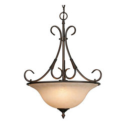 """Golden Lighting - RBZ-TEA Rubbed Bronze Single Light Pendant from the Homestead Collection - Requires 1 100w Medium Bulb (not included) Features 1 Tea Stone Glass Bowl Shade and a Rubbed Bronze Finish Includes 72"""" of Chain for Hanging"""