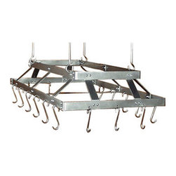 "HSM - 58 Inch Commercial Hanging Stainless Steel Pot Rack, Stainless Steel, With Grid - Dimensions: 58""W x 23""D x 6-1/2""H"