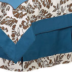 Sweet Jojo Designs - Surf Blue & Brown Bed Skirt Queen - The Surf Blue & Brown Bed Skirt by Sweet Jojo Designs helps complete the look of your room. This skirt, or dust ruffle, adds the finishing touch while conveniently hiding under-the-bed storage.