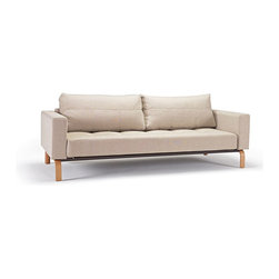 """Innovation USA - Innovation USA Cassius Deluxe Sofa - Lacquered Oak - Basic Light Grey - 55"""" x 91 - A convertible sofa in a classy, elegant design that allows it to be free standing in the middle of a room."""