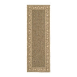 Safavieh - Transitional Rug (6 ft. 7 in. x 2 ft. 4 in.) - Size: 6 ft. 7 in. x 2 ft. 4 in. Synthetic fiber. Machine made weave. Power loomed construction. Made from polypropylene. Coffee and sand color. Made in Belgium. Safavieh takes classic beauty outside of the home with the launch of their Collection. These rugs are suitable for anywhere inside or outside of the house. To achieve more intricate and elaborate details in the designs, Safavieh used a specially-developed sisal weave. Care Instructions: Vacuum regularly. Brushless attachment is recommended. Avoid direct and continuous exposure to sunlight. Do not pull loose ends; clip them with scissors to remove. Remove spills immediately; blot with clean cloth by pressing firmly around the spill to absorb as much as possible. For hard-to-remove stains professional rug cleaning is recommended.