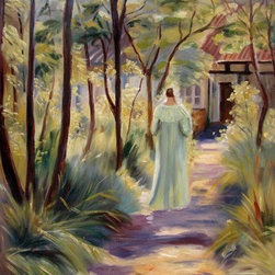 "overstockArt.com - Kroyer - Marie in the Garden - 20"" X 24"" Oil Painting On Canvas Hand painted oil reproduction of a famous painting by a danish painter Kroyer Marie in the Garden . This is a remarkable oil painting with exceptional use of color, detail and brush strokes. The original painting was created in 1895. Today the painting has been carefully recreated detail-by-detail, color-by-color to near perfection. Peder Severin Kroyer (1851 - 1909), known as P. S. Kroyer, was a Danish painter. He is one of the best known and beloved, and undeniably the most colorful of the Skagen Painters, a community of Danish and Nordic artists who lived, gathered or worked in Skagen, Denmark, especially during the final decades of the 19th century. Kroyer was the unofficial leader of the group."