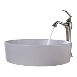 Kraus - Kraus White Round Ceramic Sink and Ventus Faucet Brushed Nickel - *Add a touch of elegance to your bathroom with a ceramic sink combo from Kraus