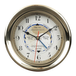 """Inviting Home - Time and Tide Clock - Time-and-Tide clock; 7""""dia x 2-1/2""""D Brass cased clock shows the phases of the tide. Time-and-Tide clock is a working instrument for the East coast. West coast tide patterns require weekly settings. This clock comes with instructions and write-up."""