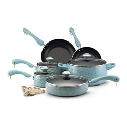 Paula Deen - Paula Deen Signature Porcelain non-stick Cookware 15 Piece Set - Aqua Multicolor - Shop for Cookware Sets from Hayneedle.com! Paula Deen is an icon of downhome cooking. Bring a bit of that home with the Paula Deen Signature Non-stick 15-Piece Set in Aqua. This complete cookware set features pots pans skillets and lids that are oven-safe to 350 degrees and have a pretty speckled aqua porcelain exteriors with color-coordinating plastic handles. The set includes four pots and pans with tight-fitting tempered glass lids two skillets and a set of five matching measuring spoons.